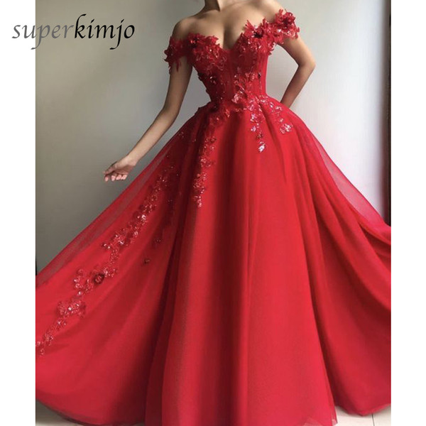 Red Prom Dresses Off the Shoulder Lace Appliques Hand Made Flowers 3D Floor Length Evening Dresses Gowns Arabic