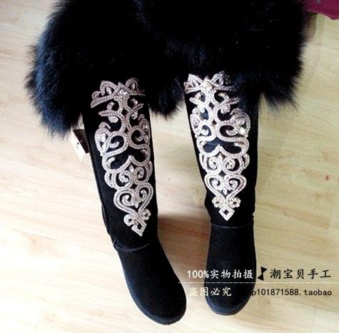women's shoes spring rubber boots for women knee-high Exclusive new original handmade rhinestone ultimate luxury oversized fox f