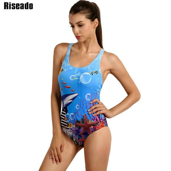 Riseado Sport 2019 One Piece Swimsuit Competitive Swimwear Women Swimming Suit Digital Printing Racer Back Bathing Suits Y19052101