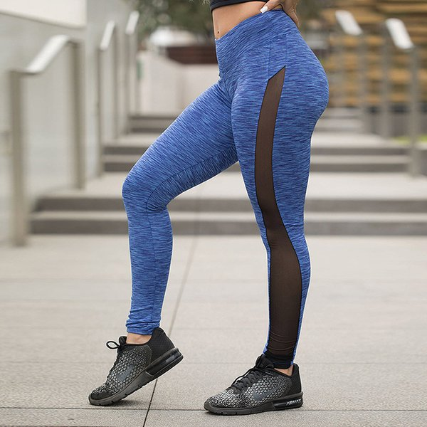 Hot Popular Women Stretchy Skinny Sheer Mesh Insert Workout Leggings Yoga Tights For Running Jogging Gym 3 Color Options