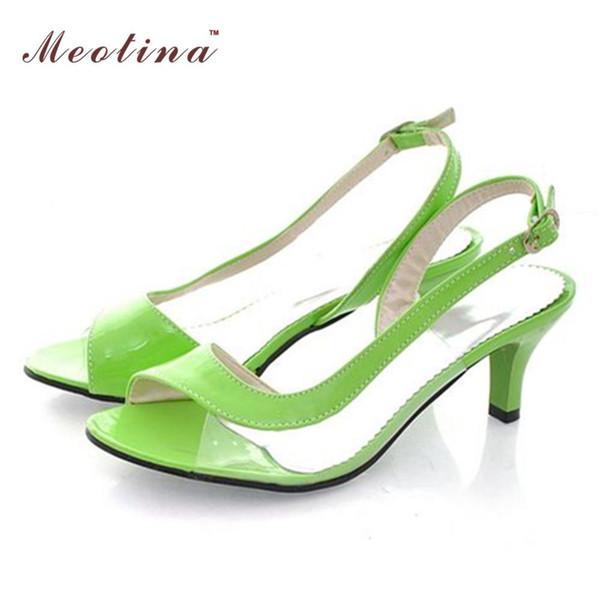 Vente en gros-Meotina Sandales pour Femmes grande taille 10 12 13 14 46 Sandales d'été pour dames Transparent Neon Low Heels Chaussures Designer Femme Vert Jaune