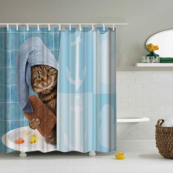Lovely Cat Printing Shower Curtain Polyester Waterproof Cloth Shower Curtains Bathroom Curtain Bathing Bath Room Curtain