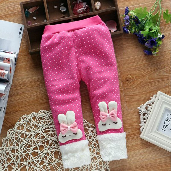 good quality 2019 Autumn and Winter Baby Girls Warm Leggings Pants,Baby Rabbit ear hair ball add Thick velvet Cute Leggings Trousers