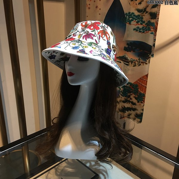 G142, 95, Nouveau chapeau de pêcheur, chapeau de soleil, fleurs imprimées, parasol, protection solaire, lettre.