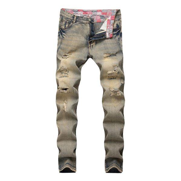 Jeans Skinny para Homens Primavera Verão Vintage Denim Calças Lápis 2019 Ocasional Estiramento Buraco Rasgado Zipper Jeans Reta