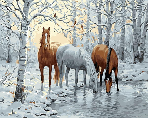 Horses in Snow Forest 16x20 inches DIY Paint On Canvas drawing By Numbers Kits Art Acrylic Oil Painting Frame For Adult Teen
