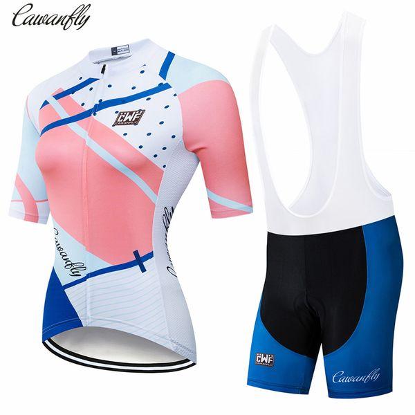 Jérsei de ciclismo das mulheres do soldado conjuntos de manga curta de verão roupas de ciclismo roupas de bicicleta 2019 pro team 2019 novo rosa