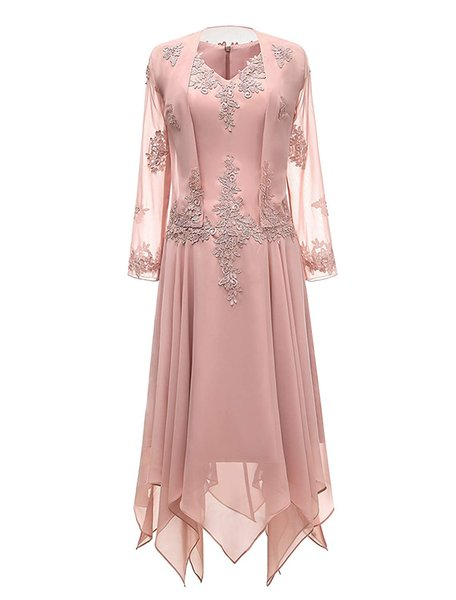 Plus Size Mother of Bride Dresses with Jacket Chiffon Tea Length Wedding Guest Dresses with Applique Beaded Mother of the Groom Evening Gown