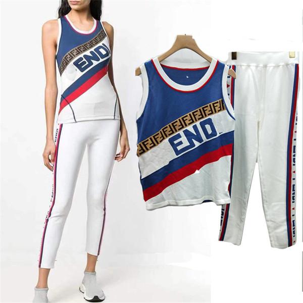 2019 mulheres ff 2 peças set das mulheres da marca mangas tops + calças designer de alta qualidade mulheres roupas senhoras terno de luxo duas peças outfits