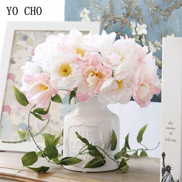 YO CHO 7 Têtes de soie Rosemary Fleurs artificielles Fleurs de mariage pour la soie mariée main Blooming Rosemary Fausse fleur blanche Accueil Vase Décoration