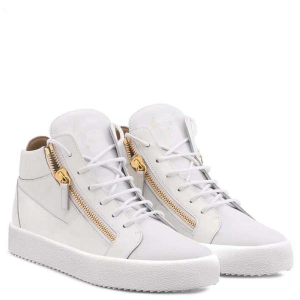 Nouveau 2019 Mens Winsed Patent Leather Womens avec baskets bas Zip Top en velours côtelé, Marque Casual chaussures 35-46Drop gratuite