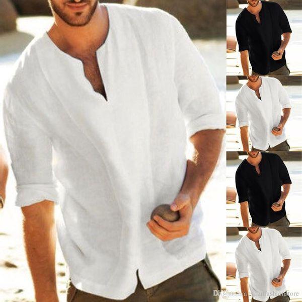 Camisas de moda Hombres holgados Algodón Lino Color sólido 3/4 Manga V Cuello Camisas Tops Blusas Ropa fresca y transpirable para hombres