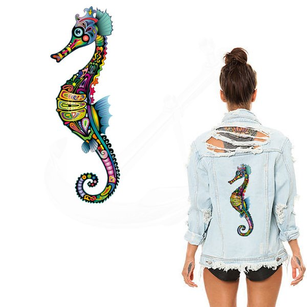 New Cartoon Multicolor Hippocampus pattern 28*9.89cm stickers iron on patches DIY patch on clothes jacket thermal transfer