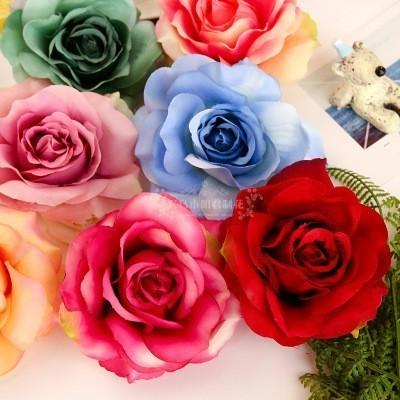 50pcs Roses Artificial Silk Rose Head Wedding Decoration DIY jewelry brooch headdress real touch artificial flowers roses C18112601