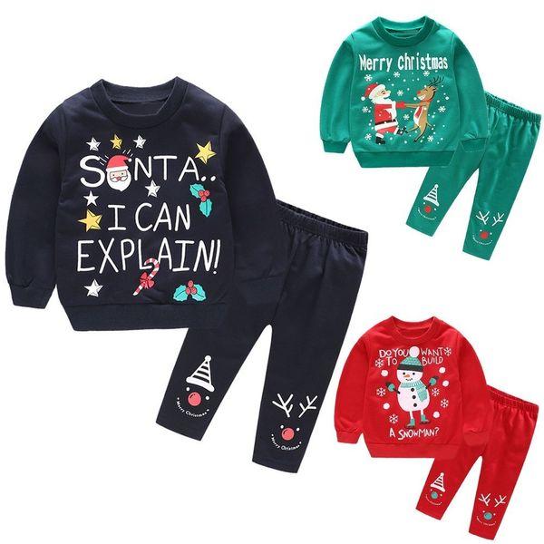 good quality Fashion Clothes Set 2PCs Baby Girl Boy Winter clothes Santa Claus Christmas Snowman deer Tops+Pants Outfits Set infantil