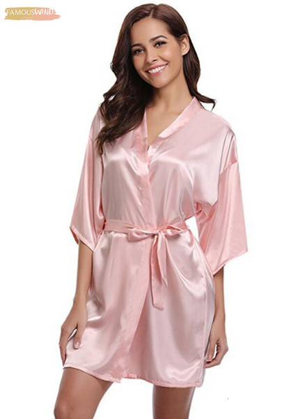 Rb032 New Silk Kimono Robe Bathrobe Women Silk Bridesmaid Sexy Robes Navy Blue Robes Satin Robe Ladies Dressing Gowns