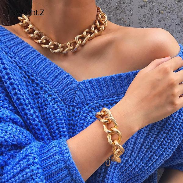 IngeSight.Z Gothic Коренастых Толстый Снаряженных кубинского ожерелье браслет Hip Hop Heavy Metal Choker Ожерелье Воротник для женщин ювелирных изделий