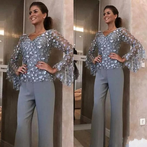 Fashion Silver Grey Lace Mother Of The Bride Pant Suits For Wedding Groom Dress 3D Floral Appliqued Long Sleeves Outfit Garment BC2014