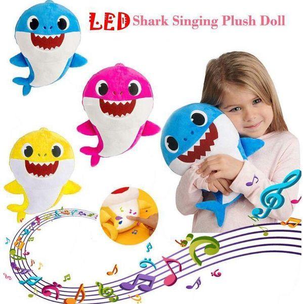 3 cores 30 cm led música tubarão bebê brinquedos de pelúcia dos desenhos animados recheado adorável animal bonecas macias tubarão música de pelúcia boneca de festa Favor 60 pcs