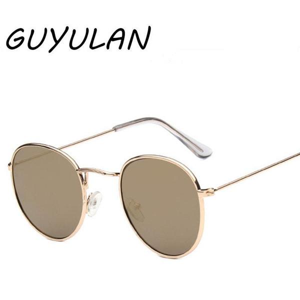 GUYULAN Retro Metallrahmen Runde Sonnenbrille Frauen fahren Pink Silber Blau Braun Linsenbeschichtung Brillen Herren Outdoor UV400