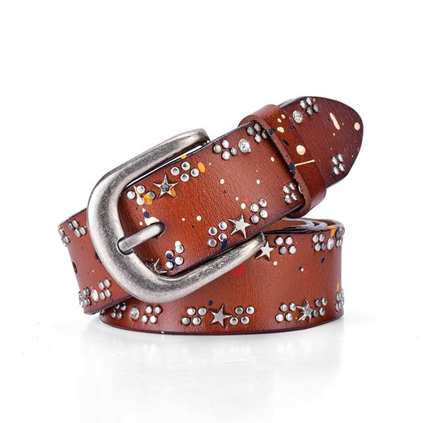 Luxury Stars Adorn Waistband Fashion Designer Graffiti Belts Woman Chastity Belt High Quality Leather Waist Straps Hip Hop Jeans Dress Belt