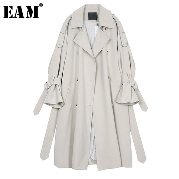 eam] 2019 new autumn winter lapel long sleeve gray waist bandage big size long windbreaker women trench fashion tide jr677, Tan;black