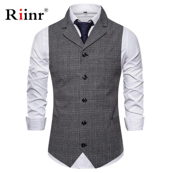 Men Single Breasted Suit Vests Gentlemen Casual Business Sleeveless Waistcoat Vintage Formal Blazers Vest For Wedding Party