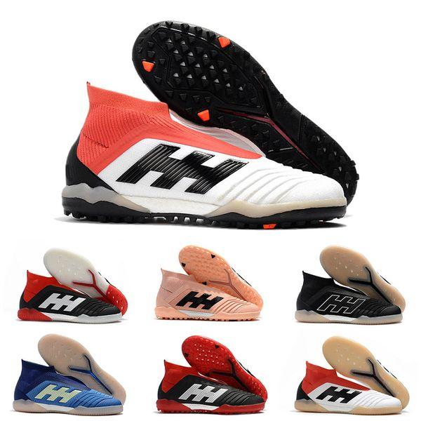 2019 chuteiras de futebol de couro dos homens predador tango 18 + tf ic alta ankle futebol botas de futebol interior sapatos baratos preto branco grande ordem por atacado
