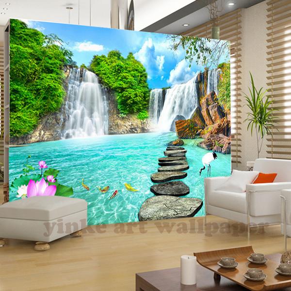 Personalizado 3D Foto Papel De Parede Natural Mural Cachoeiras Estilo Pastoral 3D Não-tecido Papéis De Parede De Papel Sala de estar Sofá Pano De Fundo