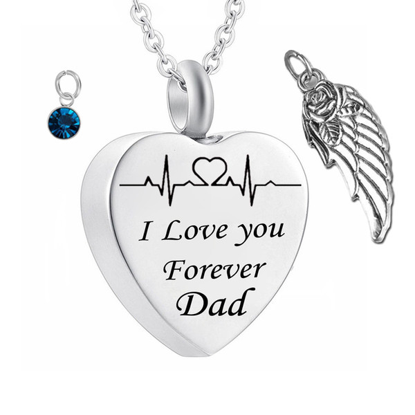 Wholesale I Love You Forever Dad Birthstone Ashes Heart Pendant Memorial Urn Necklace Angel Wing Stainless Steel Waterproof Cremation Jewelry Red Pendant Necklace Custom Jewelry From Weikuijewelry 3 28 Dhgate Com