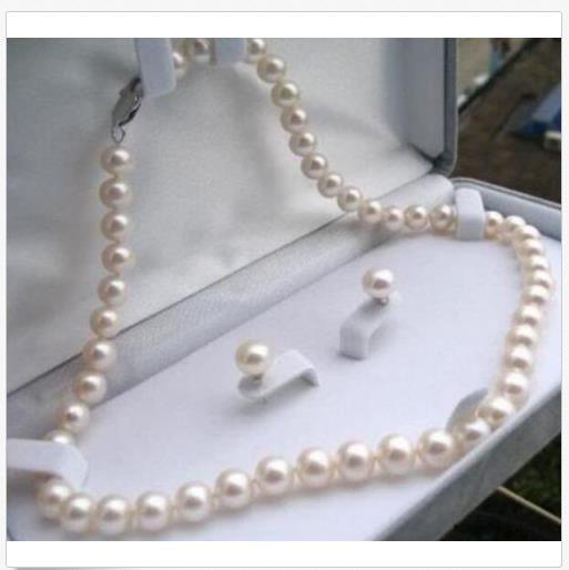 7-8mm reale naturale bianco Akoya perla coltivata collana orecchini gioielli set 18