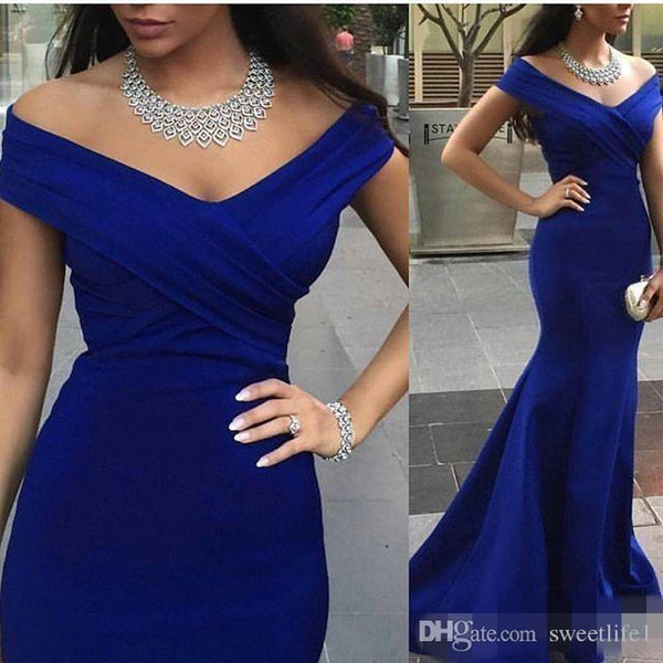 Royal Blue Evening Prom Gowns Mermaid Sleeves Backless Formal Party Dinner Dresses 2016 Off Shoulder Celebrity Arabic Dubai Plus Size Wear