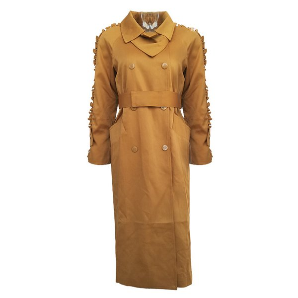2019 outono precoce newWomens blusão trench coat lapelas babados sopro mangas cintura longo solto jaqueta jaqueta