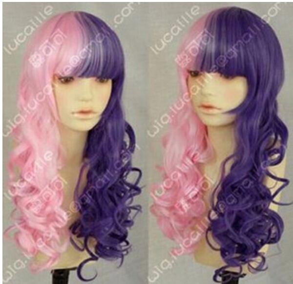FREE SHIPPING+ ++ Curls VR sight Deep purple night Half cosplay wig