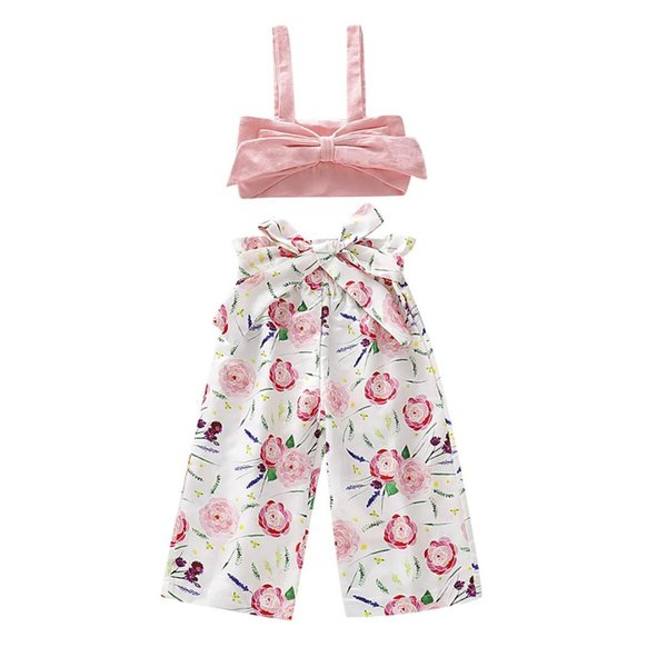 0-5Y Summer Infant Baby Girl Kids Floral Clothes Sets Sleeveless T shirt Vest Pants Outfits Clothes 2PCS