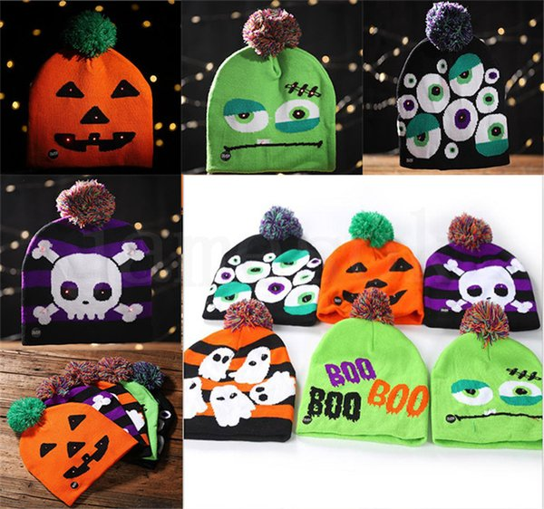 6 style Led Halloween Knitted Hats Kids Baby Moms Warm Beanies Crochet Winter Caps For Pumpkin Acrylic skull cap party gift props DC729
