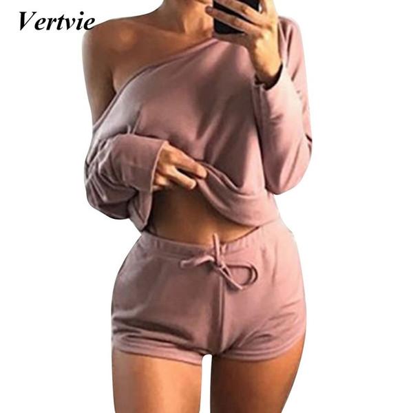 Vertvie marca sólida esporte terno das mulheres agasalho calções + fora do ombro de manga longa top terno de yoga aptidão jogger macacão # 148225