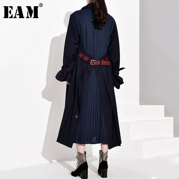 eam] women back vent pleated split long trench new lapel long sleeve loose fit windbreaker fashion tide spring 2020 wb54704, Tan;black