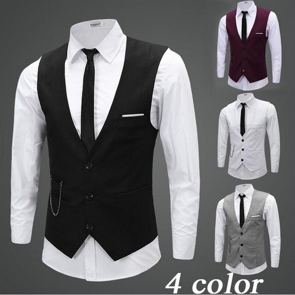 Siyah Gri Damat Zincir Damat ile Yelek Yelek Slim Fit Erkek Suit Yelek Balo Düğün Yelek Fress Nakliye