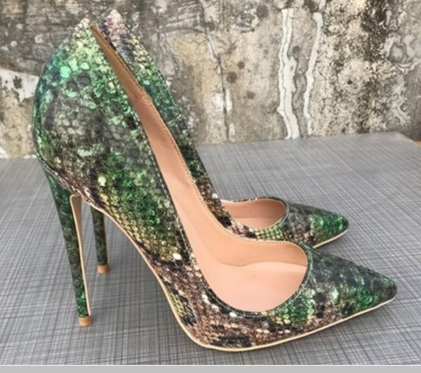 2019 new green Snake skin Women's high heel shoes 12cm 10cm 8cm large size 44 Single shoe Cusp Fine heel banquet Nightclub Red bottom shoes