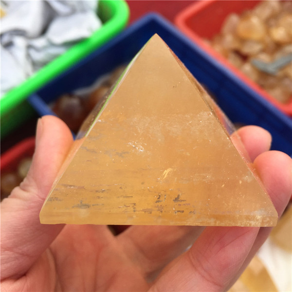 Natural Yellow Calcite Crystal Pyramid Gemstone Mineral Great for Meditation Healing Home Decoration Chakra Reiki Stone Free Shipping