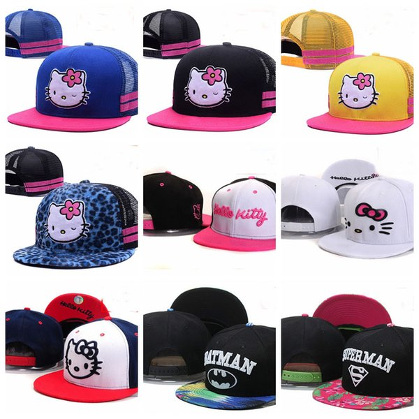 b40a8093a 2019 Baby Pink Hello Kitty Kids Mesh Baseball Caps Toucas Gorros 3 8 Year  Cartoon Boys Girls Children Flat Hip Hop Adjustable Snapback Hats Fitted ...