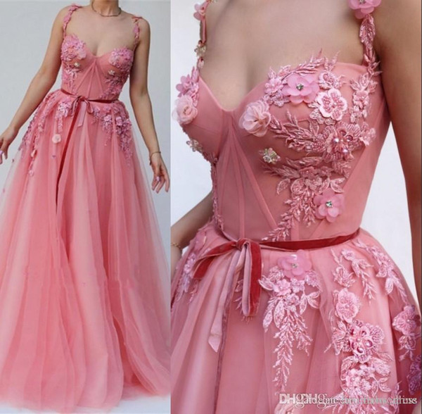 Beautiful Pink Flowers Appliques Spaghetti Straps prom dresses A Line Evening Dresses 2019 Tulle Long Arabic Prom Gowns Cheap