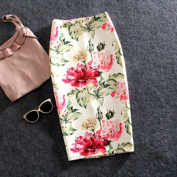 Frauen Röcke Sommer Print Blumen Bleistift Rock Casual Röcke knielangen Plus Size Faldas Mujer Moda Jupe Femme