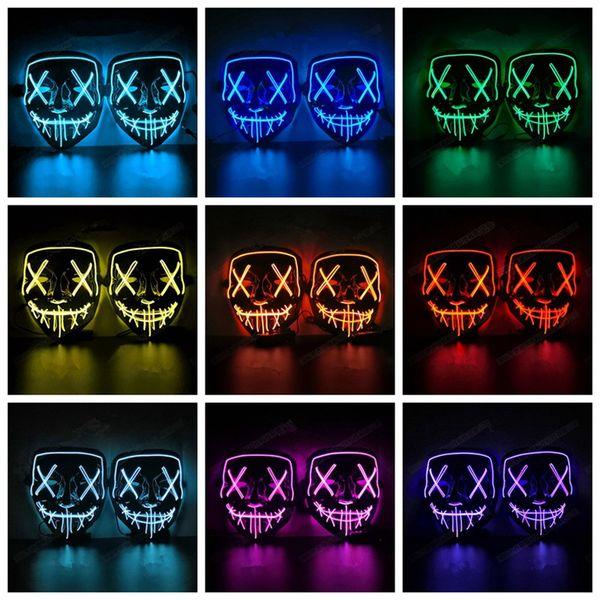 Éclairage LED masque complet masque de lumière froide Grimace pour Halloween Noël Cosplay Party Bar Dance Party HHA442