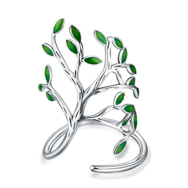 Boho Wald Silber Farbe Green Leaf Ring Modeschmuck Olive Tree Branch Einstellbare Open Knuckle Fingerringe Für Frauen O5M075