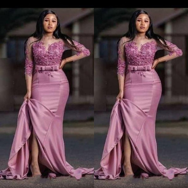 Dusty Rose 2020 New Saudi Arabic Mermaid Evening Mother of the bride Dress Satin Applique 3/4 Sleeves Party Prom pageant Dress Plus size