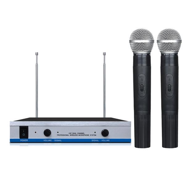 Envío Gratis VHF Dual Micrófono Inalámbrico con Receptor Transmisor para tarjeta de sonido estudio de grabación Caja de TV Mezclador de Audio Altavoz de la computadora MIC