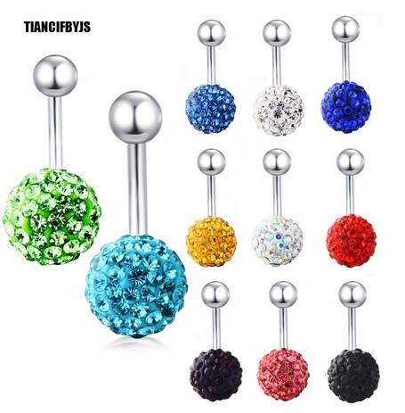 Stainless 14g Fashion Belly Button Ring Screw Steel Ball Body Piercing Jewelry Navel Ring Pircing Cartilage 10 color