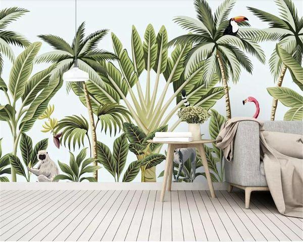 beibehang papier peint personnalisé 3d moderne arbre banane forêt peint à la main mur fond TV flamant murale 3D papier peint behang
